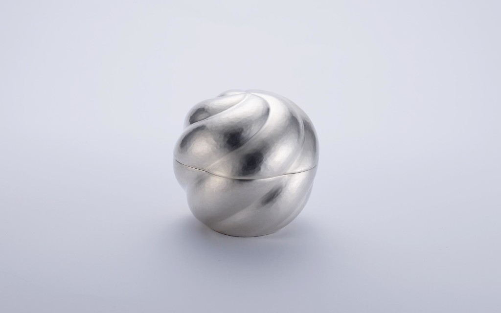 <em>Whirl Box</em>. Silver 970/000, 950/000, Hand-raised, Chased, mounted, 95x95xh85mm, 2015