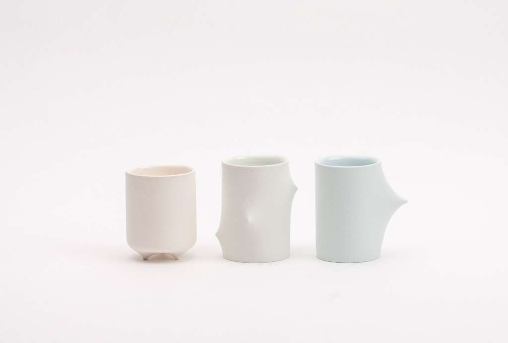 Cup series, 2013. White porcelain, slip casting, transparent glaze, various sizes.