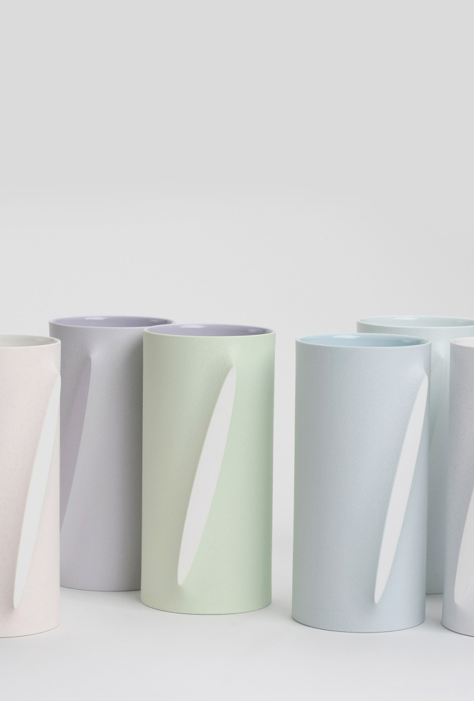 Vessels <em>Re-Formed</em>, 2012. White porcelain, pigment, slip casting, 11 × 22 cm each