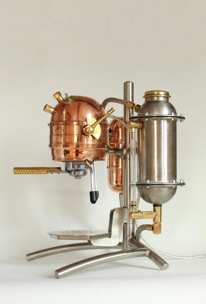 <em>Marcello</em> espresso maker. Copper, steel