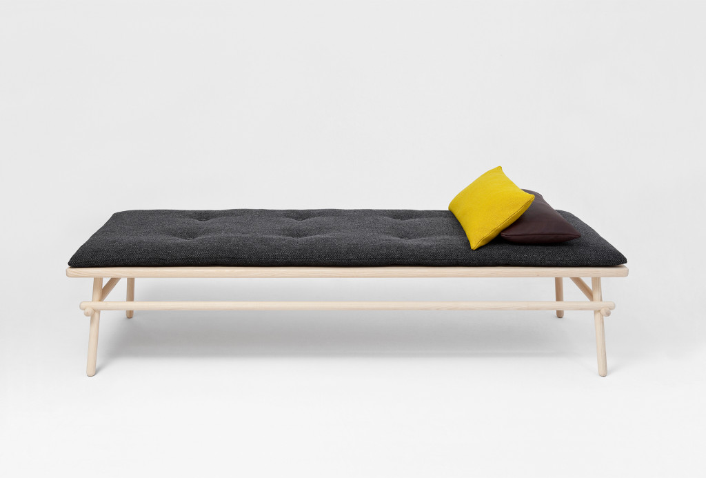 Daybed <em>Pause</em>, 2011. Ash wood, wool fabric, leather, cotton and sheep wool.