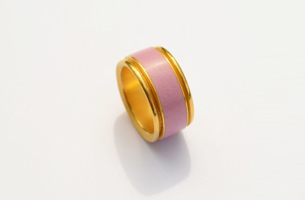 Ring. Fire enamel, silver, fine gold plated