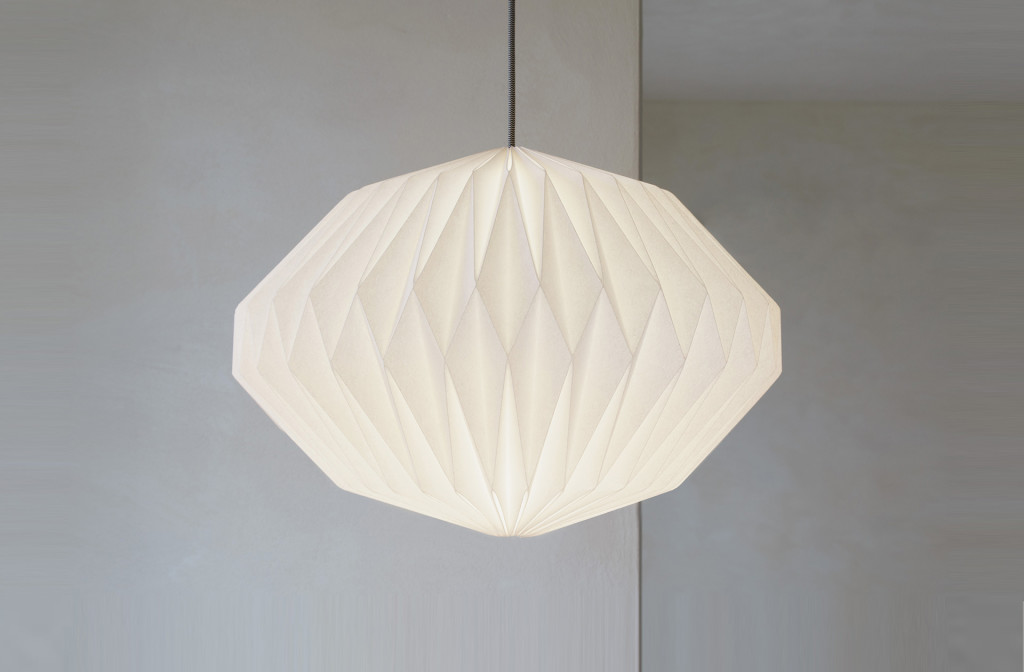 <em>Heaven knows</em> origami lamp shade. Paper