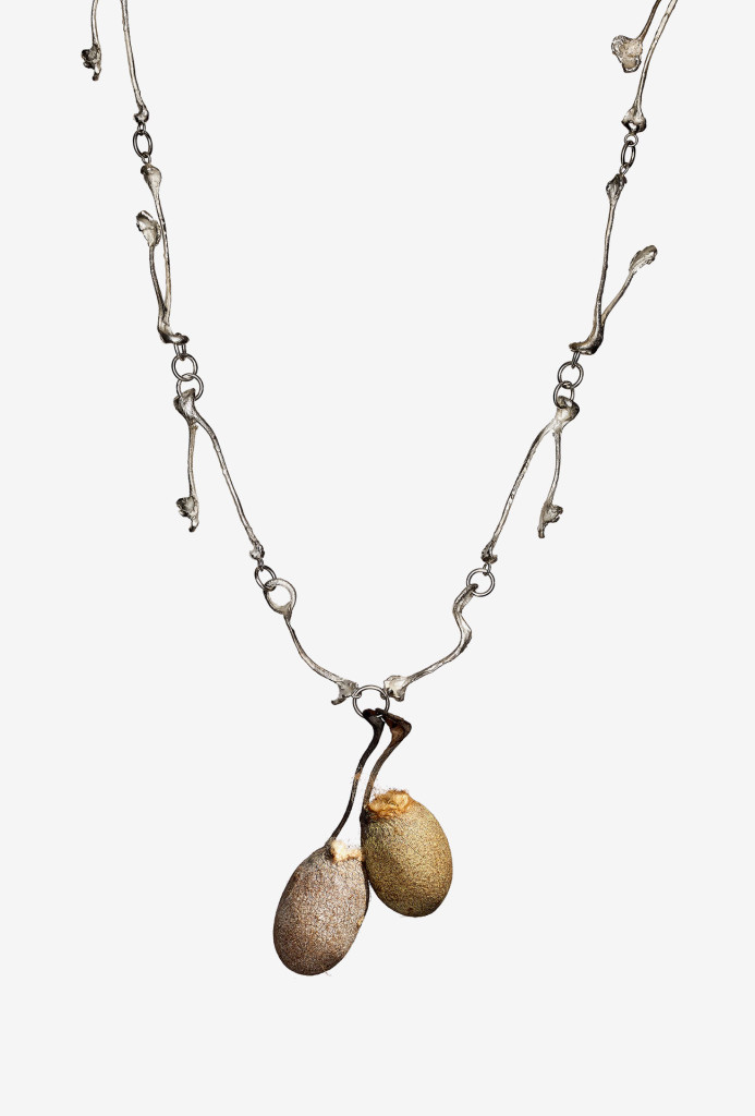 <em>Cocooning I</em> necklace. Silver, cocoon of the tussah silkworm Antheraea Mylitta. India