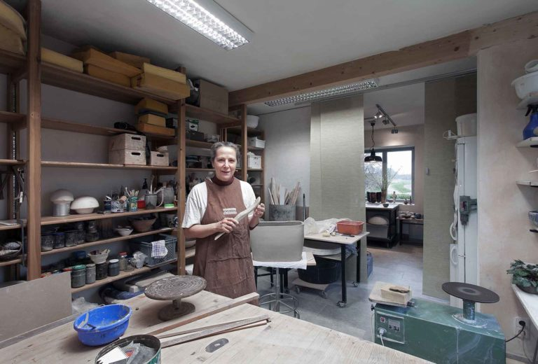 The ceramist Susanne Kallenbach in her studio. Photo Hajo Haye, Hamburg, 2012